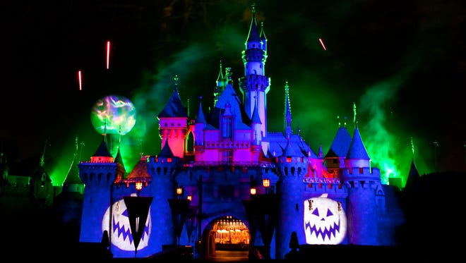Jack Skellington presides over Halloween Screams fireworks spectacular at Disneyland. The show is part of Mickey's Halloween Party.
