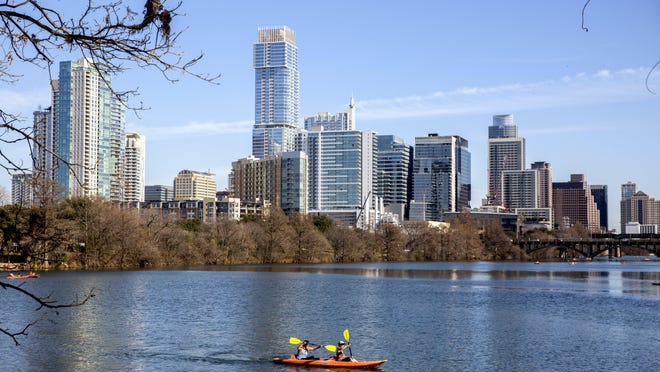 The Austin skyline as seen from Lou Neff Point off the Ann and Roy Butler Hike and Bike Trail in Austin on Monday, January 7, 2020.