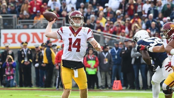 USC quarterback Sam Darnold drops back to pass during the Trojans' thrilling 52-49 victory against Penn State in the Rose Bowl.
