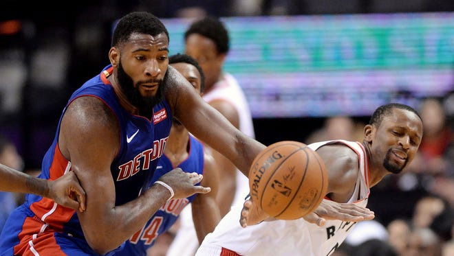 Pistons center Andre Drummond steals the ball from Raptors forward CJ Miles on Wednesday.