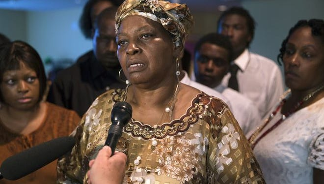 Audrey DuBose, mother of Samuel DuBose, speaks to the media July 28 following her son's funeral service at Church of the Living God in Avondale.