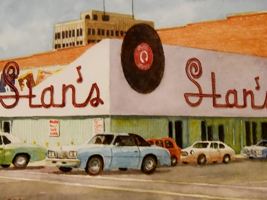 Drawing by Don Cobb of Stan's Record Shop.