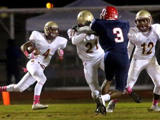 Riverdale's Marquise Cantrell and the Warriors play at Ray Hughes Stadium in the Battle of the 'Boro uns the ball after catching a punt return during the Battle of the Boro on Oct. 16. Oakland has won the past two meetings.