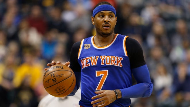 New York Knicks forward Carmelo Anthony (7) hasn't ruled out anything as far as his trade potential.
