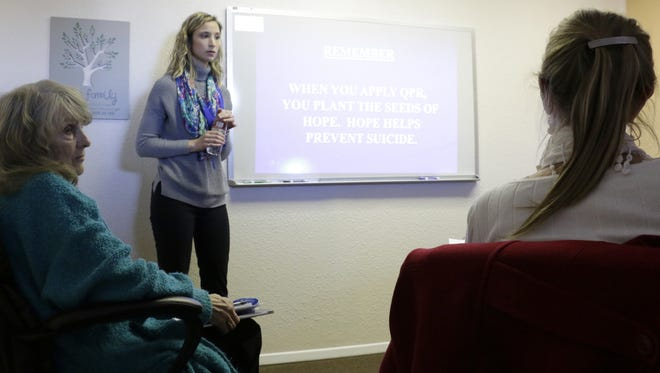 According to statistics from a 2015 New Mexico Department of Health report, there were 89 deaths from suicide recorded in Otero County from 2009 to 2013.  Sarah Kidd walked members of the Suicide Prevention Steering Committee on Thursday through ways to get someone help if they're contemplating suicide.