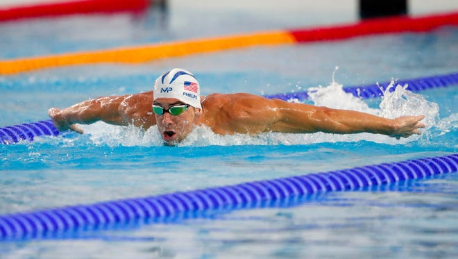 Michael Phelps (USA) swims prior to the start of the Rio 2016 Summer Olympic Games at Olympic Aquatics Centre.