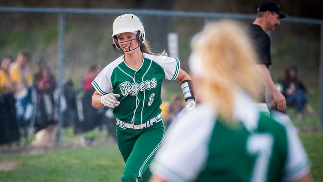 Yorktown's Savannah Baker, shown here in the 2018 Delaware County Tournament, homered and doubled in the win over Blackford on Thursday.