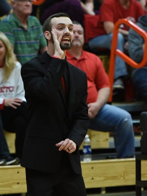 Piketon's Evan Legg coaches during his Redstreaks' 62-40 win over Eastern Brown in a Division III sectional final win last season. In his career as a head coach, Legg is 22-15.