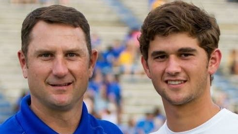 New UL Lafayette assistant Tim Leger's (left) son, Gunner (right) is a preseason All-American pitcher for the Ragin' Cajuns. Tim Leger spent 11 years on ULM coach Matt Viator's staffs at McNeese State and with the Warhawks.