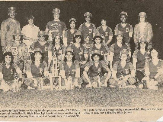 The 1982 BHS softball team celebrating its first Essex