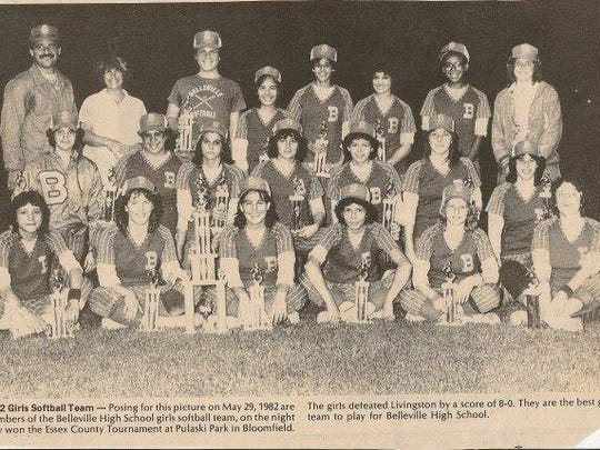 The 1982 BHS softball team celebrating its first Essex County championship. Dina DeAquino is in second row, third from right.