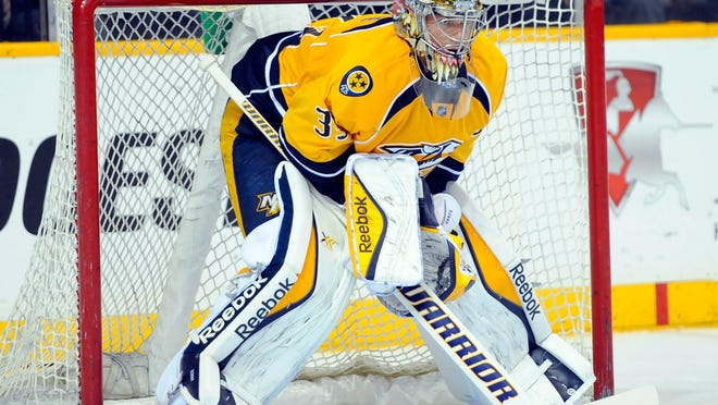 Pekka Rinne (35) has played just more than half the time during the preseason.
