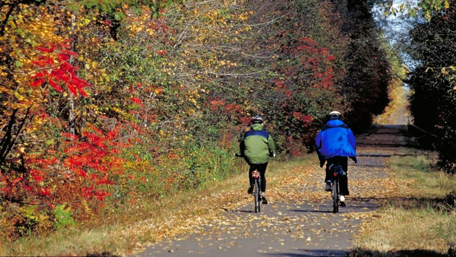 In Wisconsin are seemingly endless paved bicycle routes. This one is in the University of Wisconsin Arboretum, Madison.
