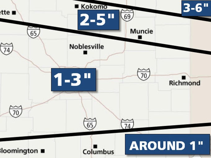 Here are the forecast snowfall totals for March 12, 2014, according to meteorologist Paul Poteet.