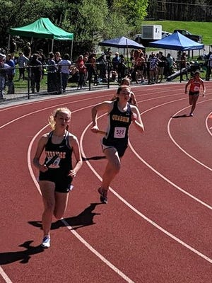 Quabbin Regional senior Emmeline Riendeau, shown wearing bib #522 and competing in a 4x400 meter relay race, will continue her academic and athletic careers at Haverford College in Haverford, Pennsylvania.