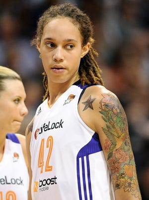 Mercury center Brittney Griner during Game 2 against the Los Angeles Sparks in the WNBA basketball Western Conference semifinals at US Airways Center.