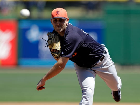 Detroit Tigers starting pitcher Matthew Boyd warms