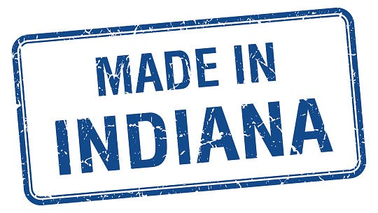 made in Indiana blue square isolated stamp