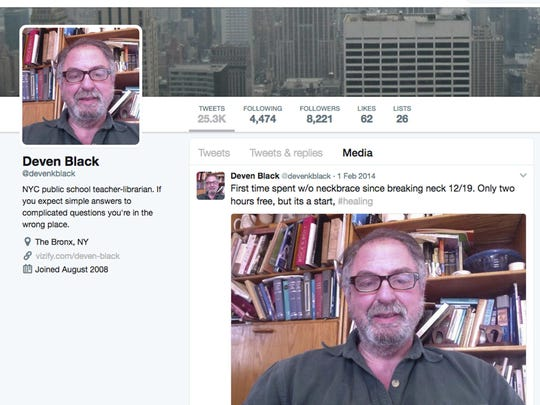This March 28, 2017 image shows the Twitter page of Deven Black, a nationally-recognized school librarian. In just three years he become destitute, his behavior growing more and more bizarre. His family and friends had a feeling that something more than depression was to blame and a year after his death, experts agree he was suffering from a rare disease. (AP Photo)