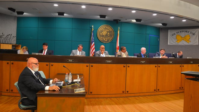 Officials are pictured at the May 18 Palm Bay City Council meeting.