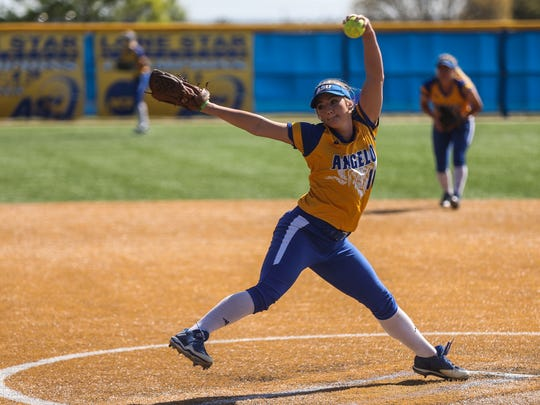 Angelo State's Morgan Hill pitches against Oklahoma Christian Thursday, March 16, at Mayer Field.