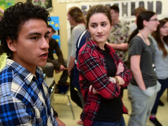 Josue Chacon, left, and Katheirne Papoutsis are two of teacher Paul Unruh  students who will visit  Germany this summer. CASHS students, seen Thursday, April 28, 2016,  are planning a trip to Germany as a culture study and to meet exchange students who visited their school.