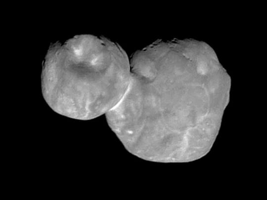 This Tuesday, Jan. 1, 2019 image shows the Kuiper belt object Ultima Thule, about 1 billion miles beyond Pluto, encountered by the New Horizons spacecraft.