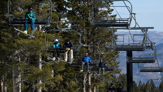 Skiers take advantage of man made snow at Mt. Rose Ski Tahoe. The ski area opened with limited skiing on Nov. 18, 2016. It's scheduled to remain open for the season through May 29, 2017.