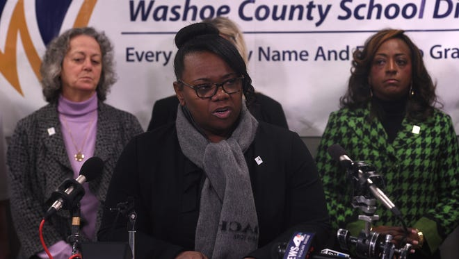Washoe County School District Superintendent Traci Davis speaks during a press conference with regards to the shooting at Hug High School in Reno on Dec. 8, 2016.