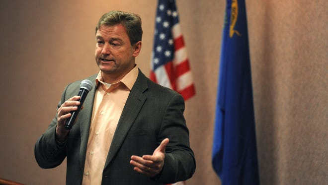 U.S. Sen. Dean Heller participates in the Carson City Chamber of Commerce monthly Soup's On! event at the Gold Dust West hotel and casino in Carson City on Feb. 22, 2017.