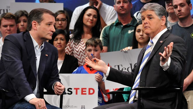 Ted Cruz and Sean Hannity during a campaign rally on March 11, 2016 in Orlando