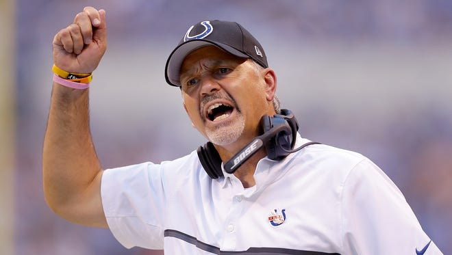 Indianapolis Colts head coach Chuck Pagano wanted a pass interference call as he thought wide receiver Phillip Dorsett (15) was hit in the second half of their game Sunday, September 11, 2016, afternoon at Lucas Oil Stadium. The Colts lost to the Lions 39-35.