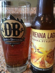 Devils Backbone logo glass and its Vienna Lager, which