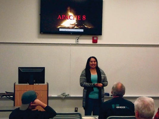 "Erica Enjady, BIA Forest Manager, presented the documentary ""Apache 8"" to a crowd of approximately 25 people at ENMU-Ruidoso on Monday as part of the college's Native Ameican Week activities."