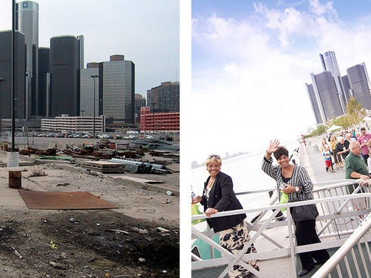 Before and after photos show Detroit's east riverfront before the RiverWalk was built and after.