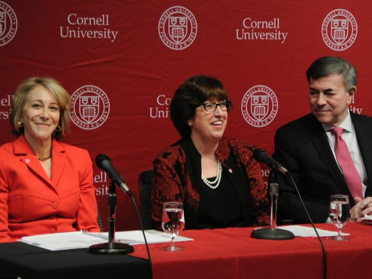 New Cornell University President Martha Pollack, center, is joined by Robert Harrison, chairman of the Cornell Board of Trustees, and Jan Zubrow, chairman of the Executive Committee of the Board of Trustees and of the Presidential Search Committee.