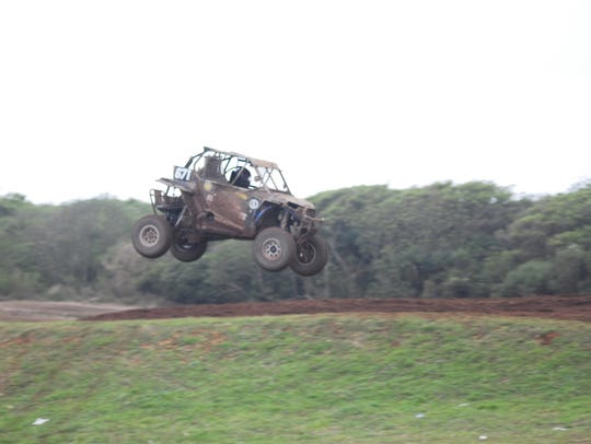 Joey Crisostomo Jr. in his Polaris UTV No. 671 lands