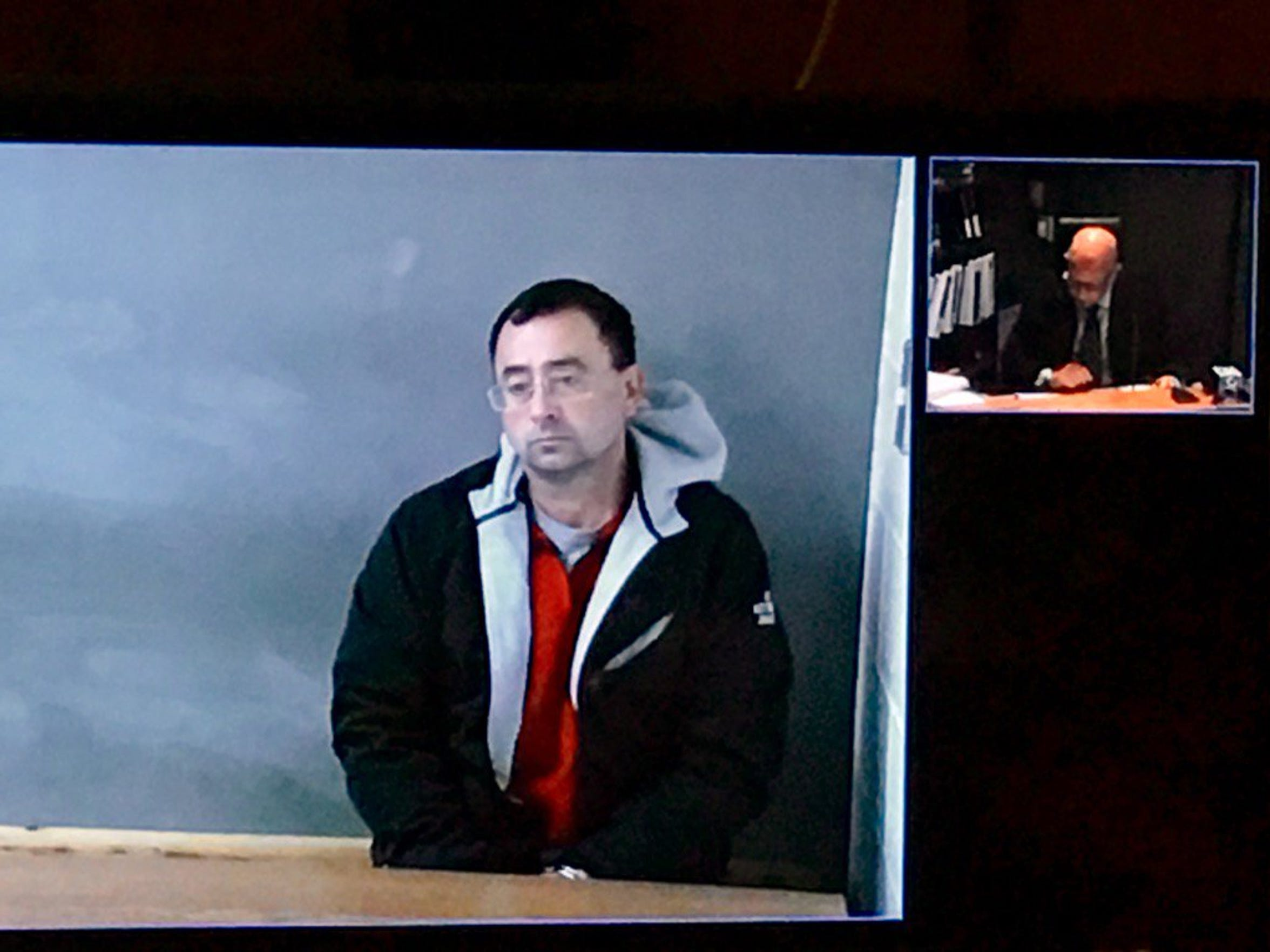 Former Michigan State University doctor Larry Nassar appeared via video teleconference during a hearing on Nov. 22, 2016.