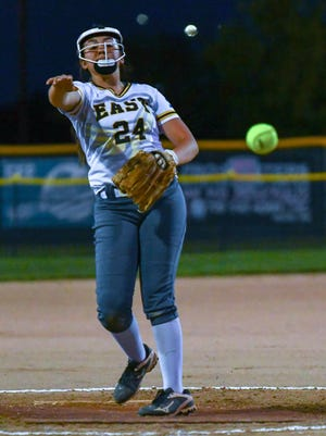 Pueblo East's Kaleigh Duran delivers a pitch against Pueblo Centennial on Tuesday, Sept. 15, 2020, on DiIorio Field at the Runyon Sports Complex.