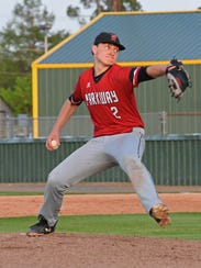 Parkway pitcher Parker Stevens throws in their game