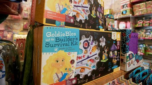 Dinosaur Farm, a neighborhood toy store in South Pasadena, Calif., has seen brisk sales in building toys for girls like Goldiblox.
