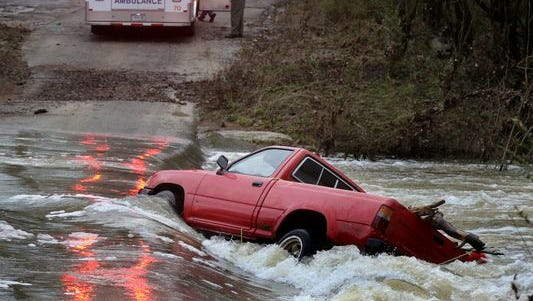 Clint Cole Powers was rescued after the truck he drove slipped into the river while traveling along Elam Mill Road on Sunday. A passenger, Brentan Mihm, was able to swim to shore on his own.