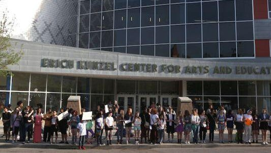 Students protest outside the SCPA.