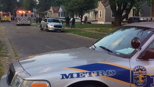 The scene of an apparent drive-by shooting at 43rd Street and Parker Avenue in west Louisville.
