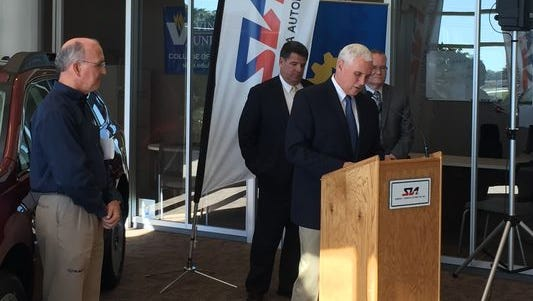 Gov. Mike Pence speaks about the expansion of SIA plant in Lafayette.