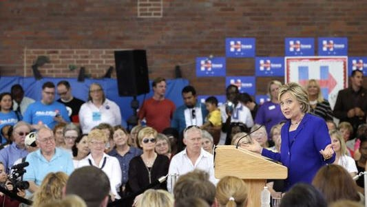 Democratic presidential candidate Hillary Clinton at a community forum on health care Sept. 22, 2015, in Des Moines.