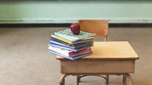 Empty desk at a school.