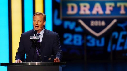 Commissioner Roger Goodell at the NFL draft in Chicago on April 28, 2016.