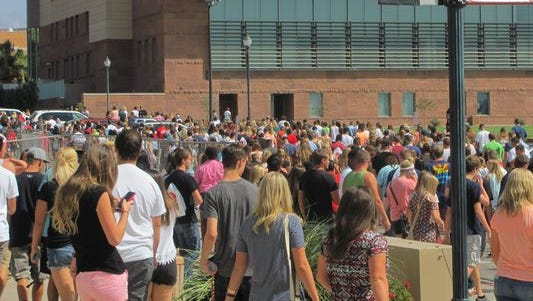 New students file out of the Burns Arena after a Dixie State University freshman orientation assembly last fall.