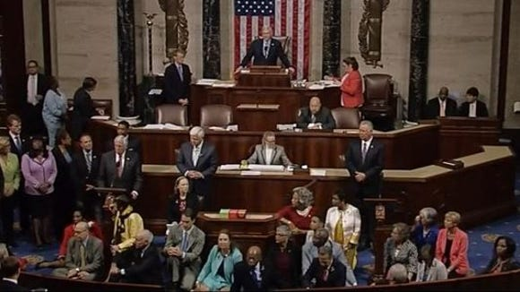 The scene just a Democrats began their sit-in.